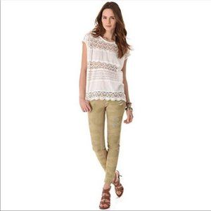 Free People Camo Distressed Skinny Jeans